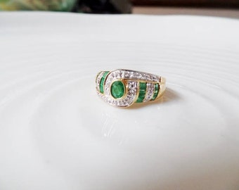 Emerald Diamond Ring 18K Yellow White Gold Vtg 750 Green Clear Gemstone April May Birthstone Statement Estate Fine Jewelry