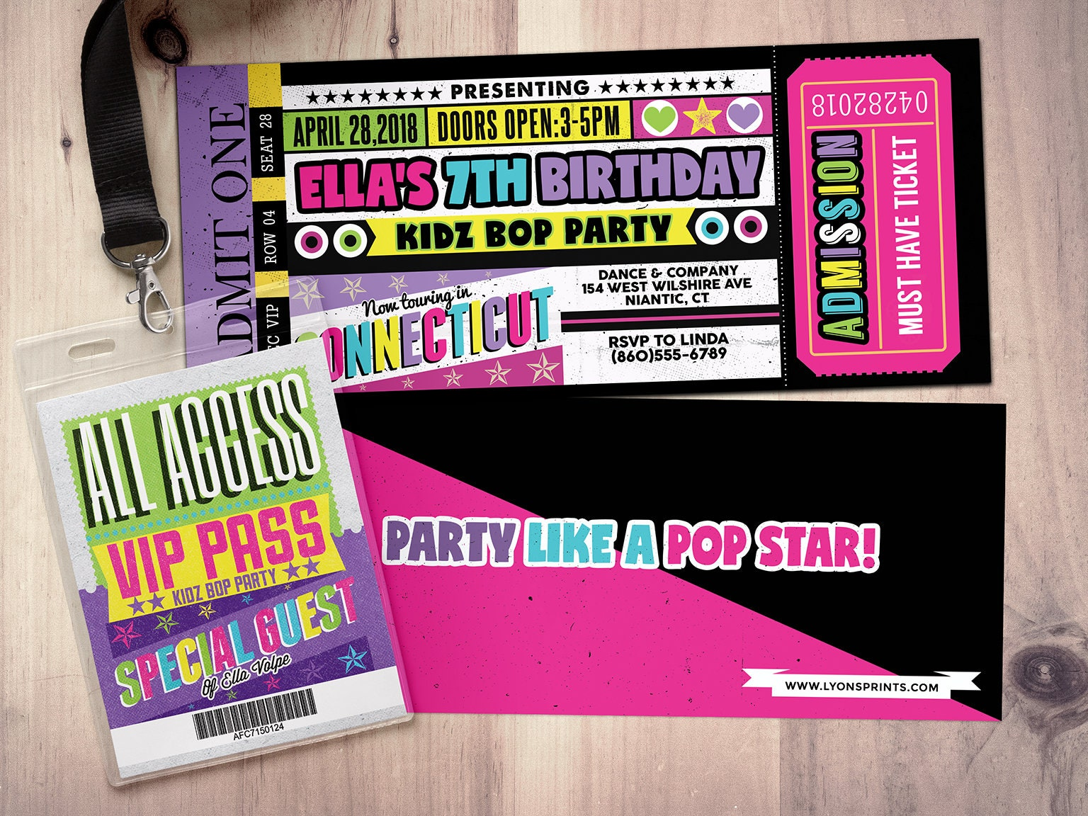 Pop star, Rock Star concert ticket birthday party invitation- Music ...