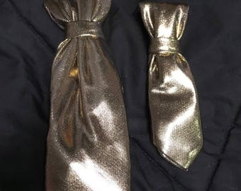 Shiny Gold or Blue Pet Neck Ties/Bow Ties