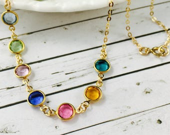 Birthstone Necklace-Personalised With Swarovski Crystal Birthstone Charms-14K Gold Filled Chain-Gift For Mother, Grandmother-Gift For Her