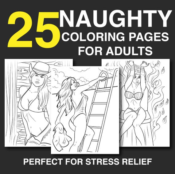 25 Naughty Coloring Pages for Adults Instant Download