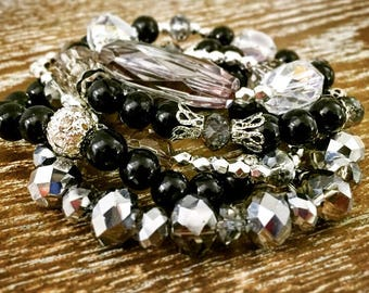 Black and Silver Full Stack of Stretch Beaded Bracelets