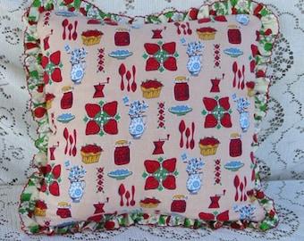 "RED STRAWBERRY PILLOW Luscious Berries Pie Jam Mason Jars Flowers Kitchen Utensils Print Beige Cotton Vintage Berry Ruffle Comfy Soft 15"" sq"