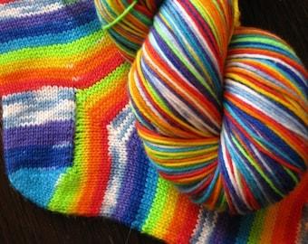 Pre-order 460 yards self striping superwash wool sock yarn - Rainbows and Clouds