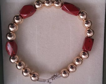 7MM 14k Gold Filled Round beads +Semi Precious Sand Stone beaded Bracelet,