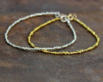 Beaded Bracelet. Delicate Stacking Bracelet. Tiny Beads From Karen Hill Tribe. Gold Vermeil or Pure Silver. B-1932