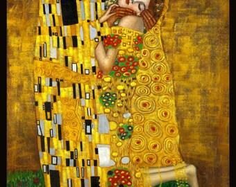 """Gustav Klimt - The Kiss 24x36"""" Poster Framed"""