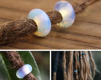 Set of 10 Natural Opalite Gemstone Dreadlock Beads 5mm Hole (3/16 Inch)