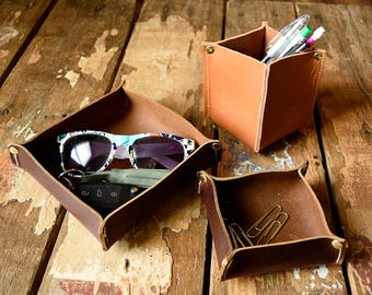 Leather Valet Trays / Handmade Leather Catch-alls /  Key tray