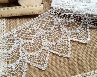 Cotton Lace Trim Vintage Crochet Lace White Hollowed Out Lace Trim 4.52 Inches wide 1 Yard