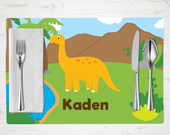 Dinosaur Placemat - Children's Placemat - Yellow Dinosaur Placemat - Personalized with Child's Name - Custom Placemat