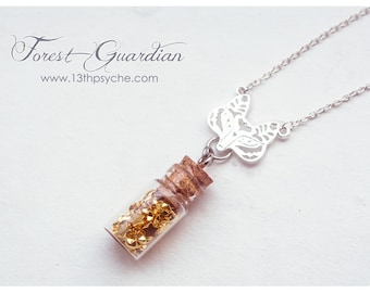 Fox pendant glass bottle. fox glass vial necklace. miniature bottle, silver necklace, stars necklace, stars bottle pendant, animal jewelry