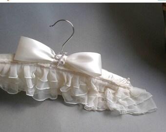 ON SALE Sweet Heart Elegant Bridal Hanger. Sheer Ruffles Rhinestone Initial Pin. GIFT Bridal Shower. Satin Grande Bow. Bride Maids. Chic P