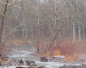 "Fine Art Color Landscape Photography of Missouri Ozarks - ""Foggy Morning on Marble Creek 1"""