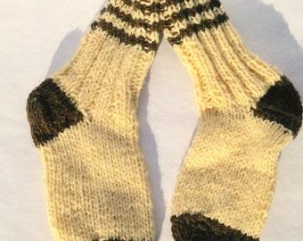 Hand knitted 100% Wool Socks / warm white  brown socks / Christmas socks /
