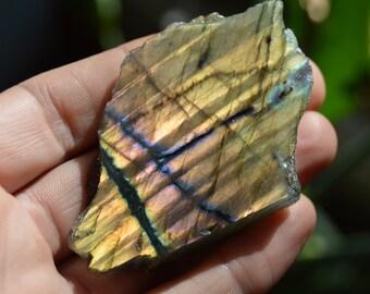 Labradorite Flashy Gold and Purple Semi Polished Piece