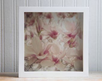 Framed Digital Art Print, Pink Ivory Magnolia Flower Photo, Sepia Tone Floral Nursery or Bedroom Decor