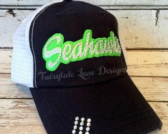 SEAHAWKS Bling Hat - Distressed Trucker Cap- Seahawks Football - Swarovski Rhinestones