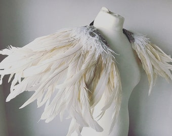 Feather festival wings, feather shoulderpiece, feather wings, feather epaulettes, festival clothing, Coachella wings, burning man outfit