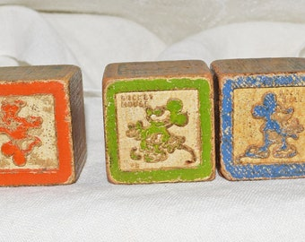 Mickey Mouse Safety Blocks by Halsam Products Company, 1930's wooden blocks