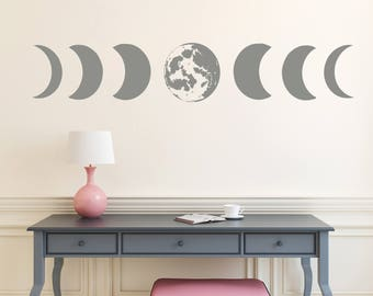 Moon Phases Wall Decal Moon Phases Art Modern Decals Moon Wall Decal Moon Wall Stickers Decor S81
