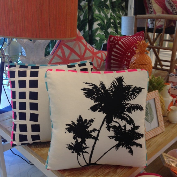 Palmtree Box  CushionDouble sided 50cm with Monochrome Pop Art  design screenprint from TROPPO Collection
