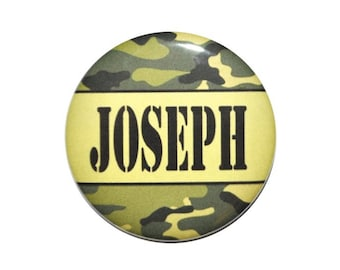 Camo Identification button personalized ID badge name tag Name button name badge 2 1/4 inch button with Name