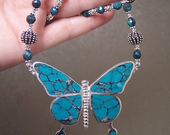 REVERSIBLE SWALLOWTAIL BUTTERFLY - Necklace in Turquoise, Sterling Silver, and Argentium Sterling Silver