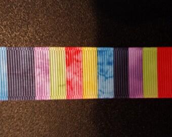 """Striped Tye Dye 7/8"""" Grosgrain Ribbon"""