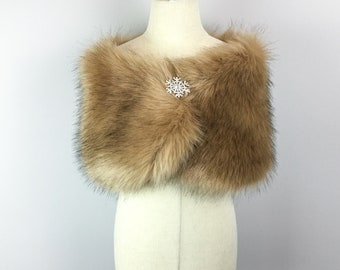 Brown Flower Girl Faux Fur Wrap, Shawl (comes with pin) (Kid Brw04)