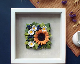 Sunflower Decor Daisy Wall Art - Sunflower Gift - Quilling Paper Flowers - 1st Anniversary - White Daisy Decor - Summer Flowers