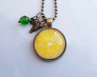 Lemon Necklace - Fruit Pendant -  You Choose Bead and Charm - Custom Jewelry - Photo Jewelry  - Yellow Citrus - Glass Pendant Lemon