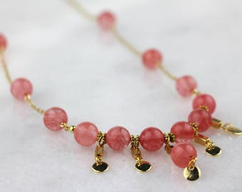 Round Coral Glass Beaded Necklace on Long Gold Chain with Gold Dangles