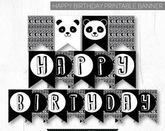 Panda Banner, Panda Birthday Party, Panda Baby Shower, Panda Decorations, Black and white baby shower, DIGITAL, INSTANT DOWNLOAD