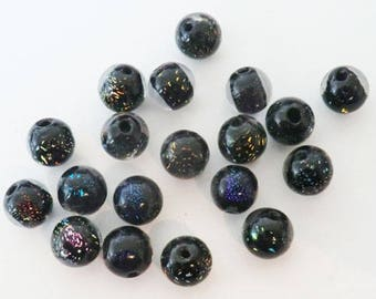 Handcrafted round 10mm Dichroic Glass Beads 5 x