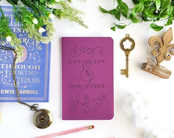 Curiouser and Curiouser Journal — Hand Lettered Alice in Wonderland Notebook — 80 pages