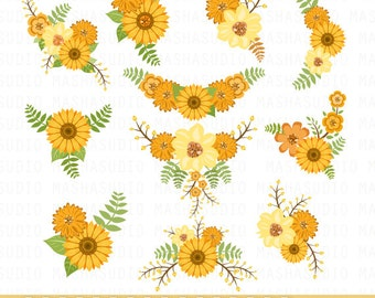 """Floral bouquet clipart: """"SUNFLOWER CLIPART"""" flowers clipart, wedding invitation, floral clipart for scrapbooking, card making, invitations"""