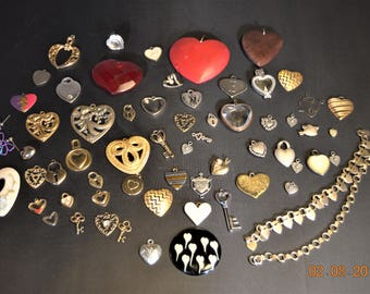 63 Heart Charms,Pendents,Destash ,Metal,Lockets,Old Vintage 50's to 90's,a few distressed,most are in wonderful shape,Wood,Glass,Plastic