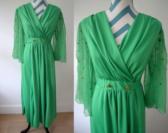 Vintage 1970s Kelly Green Long Dress with Flowy Chiffon Sleeves - Gold Buttons and Tie- Faux Wrap Dress Disco Hippie - Medium