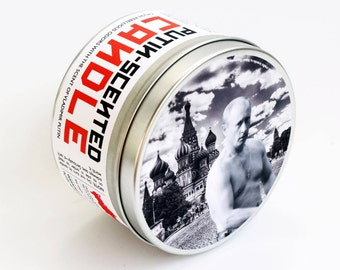 Vladimir Putin Scented Candle | Funny Russian Politics and History Gift | Funny Gift for Her | Pine, smoke and soil