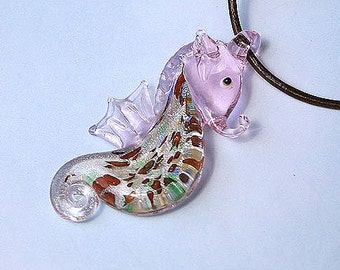Leather Necklace with Pink Glass Seahorse