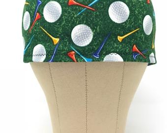 Golf Scrub Hat / Surgical Hats / Skull Caps / Chef Cap / Surgery / Chef's Cap / Chemo Hats / Men's Gift Ideas