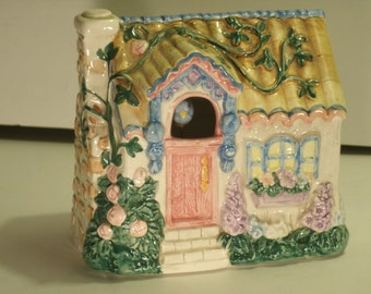 Ceramic Music Box Hand Painted House Vine Covered Country Cottage Mechanical Motion Blue Bird Plays Wind Beneath My Wings Schmid Yamaha Orig