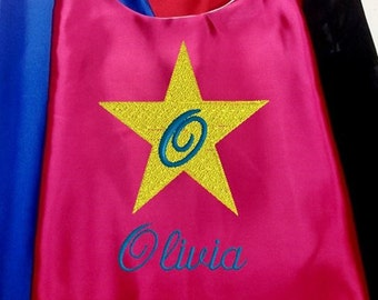 Super Hero Cape,  Embroidered Star Cape Personalized with Name