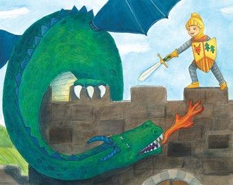 Tapfere Ritter kämpfen Grüner Drache Druck, Wand-Dekor, Kinder Kunst