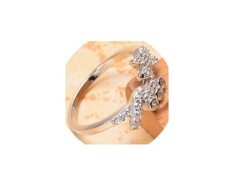 Sterling Silver  Faceted  Cubic Zirconia  Ring ,  Size 10