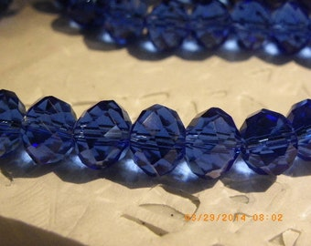 35 beads 10 mm glass crystal has faceted sapphire blue tumbler