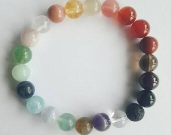 Chakra Bracelet Multicrystal Bracelet made with gemstones that resonata with the seven Chakras Yoga Buddha Gemstonebeads