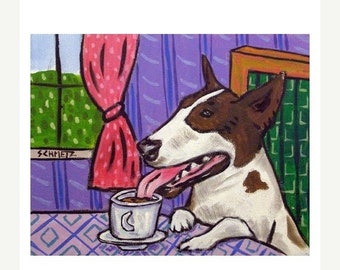 25% off Bull Terrier at the Cafe Dog Art Print