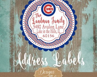 Chicago Cubs Address Label, Cubs Fan, Cubs Holiday Stationery, Cubs Stickers, Cubs Baseball stationery